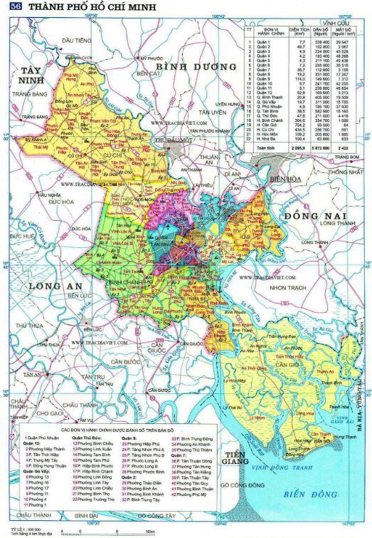 Bản đồ hành chính TP Hồ Chí Minh