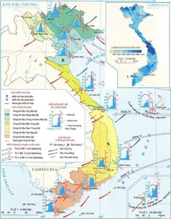 Khí hậu Đông Nam Bộ qua bản đồ khí hậu chung Việt Nam