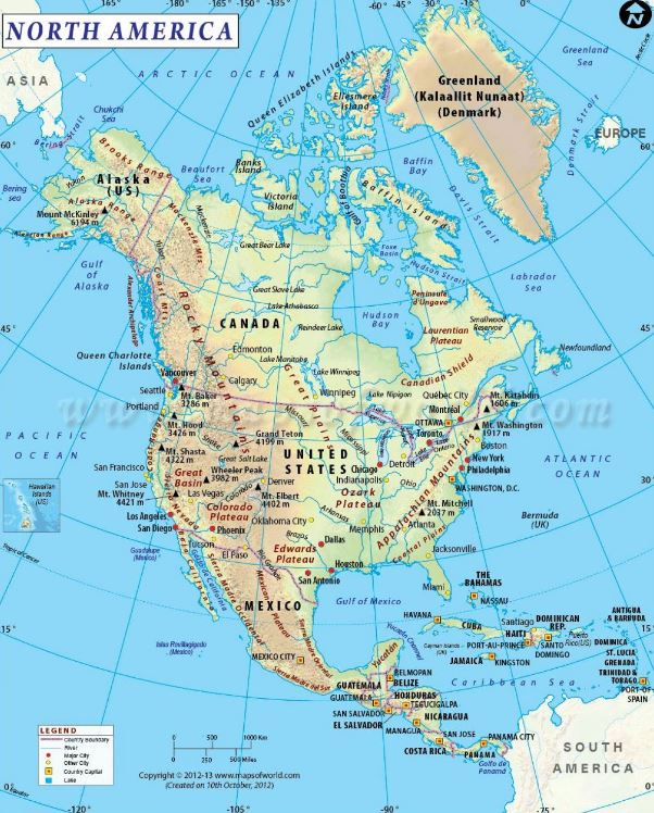 Bản đồ Bắc Mỹ