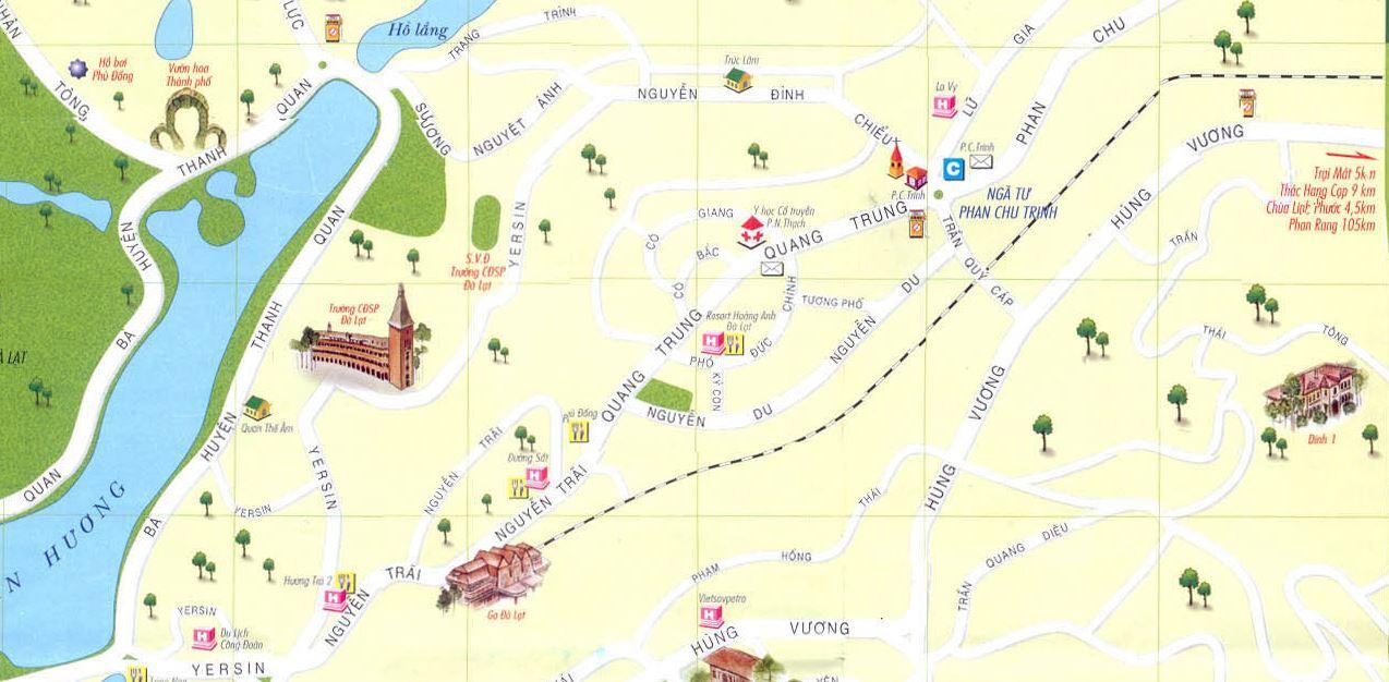 Bản đồ các điểm du lịch tại thành phố Đà Lạt tỉnh Lâm Đồng