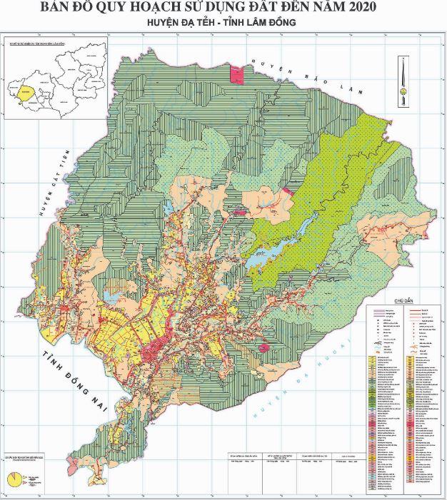Bản đồ quy hoạch sử dụng đất huyện Đa Tẻh tỉnh Lâm Đồng đến năm 2020
