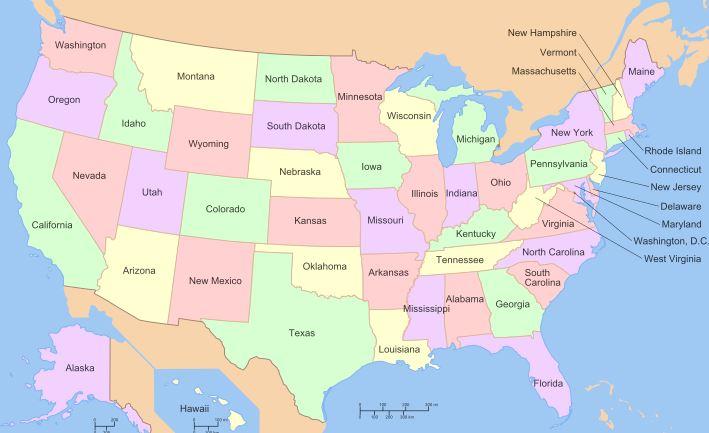 Bản đồ các bang của Mỹ