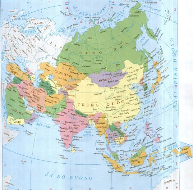Bản đồ châu Á qua bản đồ thế giới