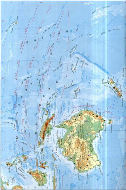 Bản đồ châu Đại Dương qua bản đồ thế giới