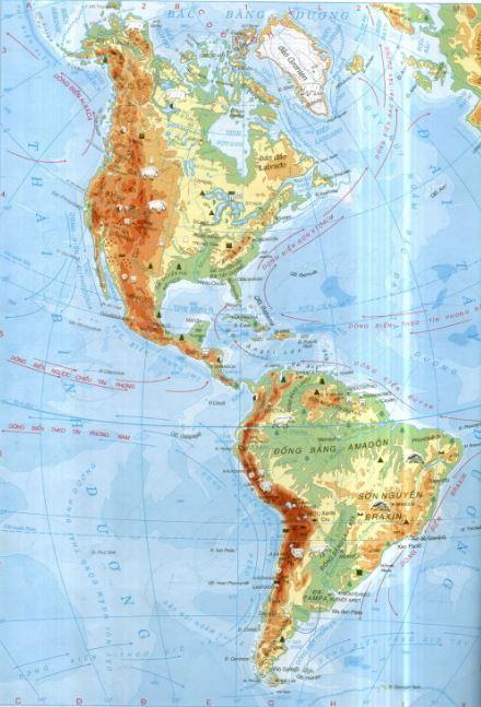 Bản đồ châu Mỹ qua bản đồ thế giới