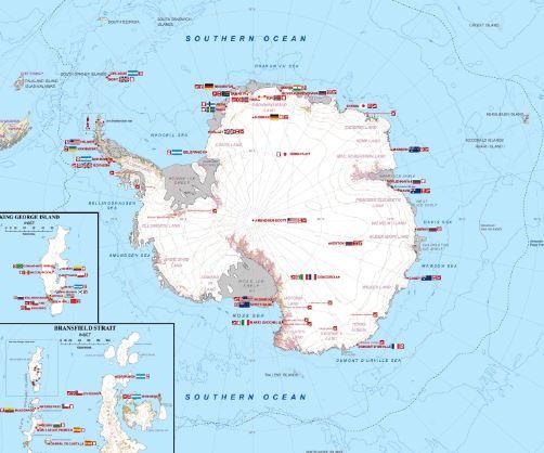 Bản đồ châu Nam Cực qua bản đồ thế giới