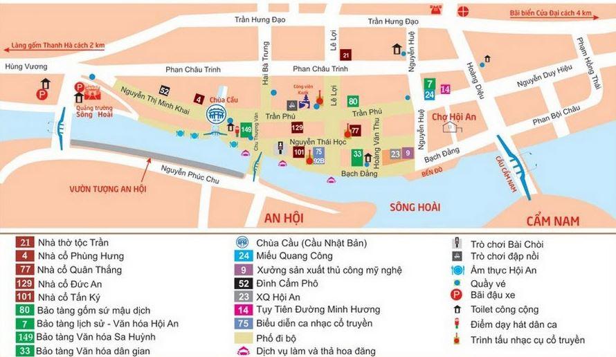 Bản đồ tham quan phố cổ Hội An - Đà Nẳng