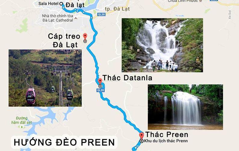 Bản đồ du lịch Đà Lạt - Hướng đến Đèo Preen