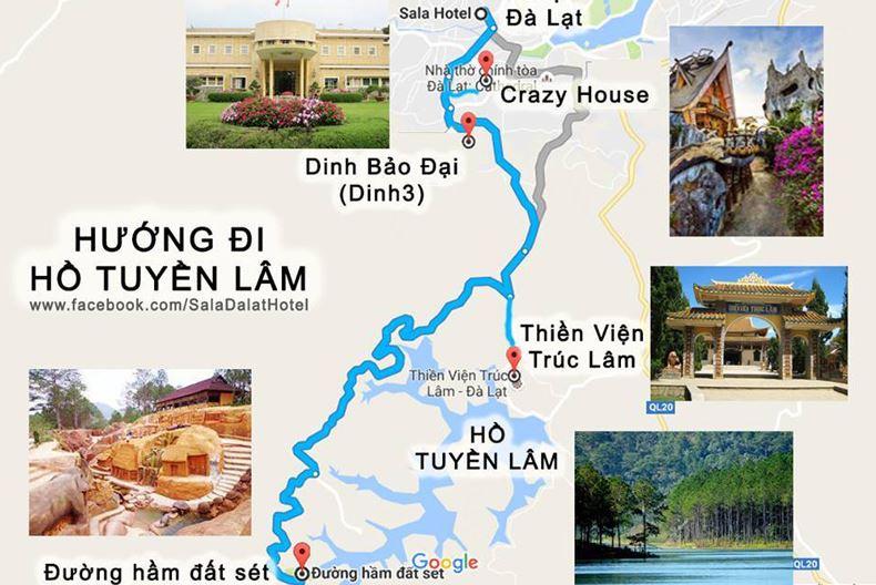 Bản đồ Đà Lạt - Hướng đi đến Hồ Tuyền Lâm