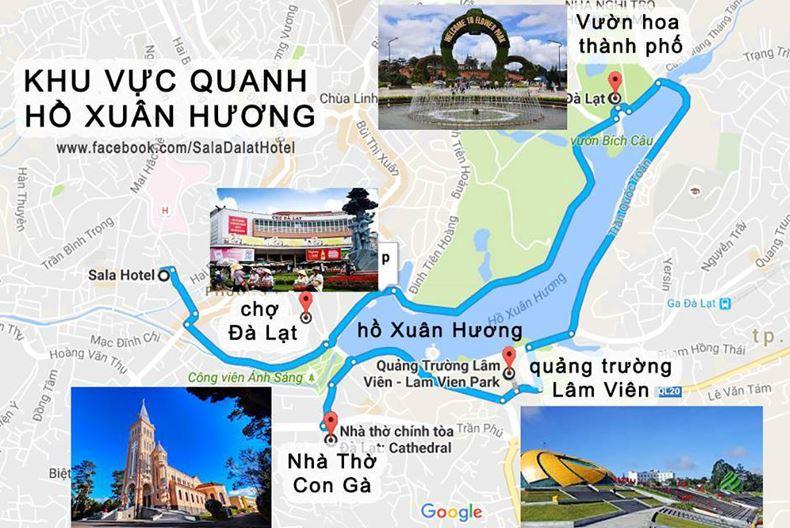 Bản đồ Đà Lạt - Hướng đi đến khu vực Hồ Xuân Hương