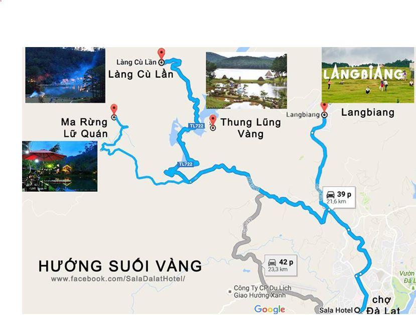 Bản đồ du lịch Đà Lạt - Đi theo hướng Suối Vàng