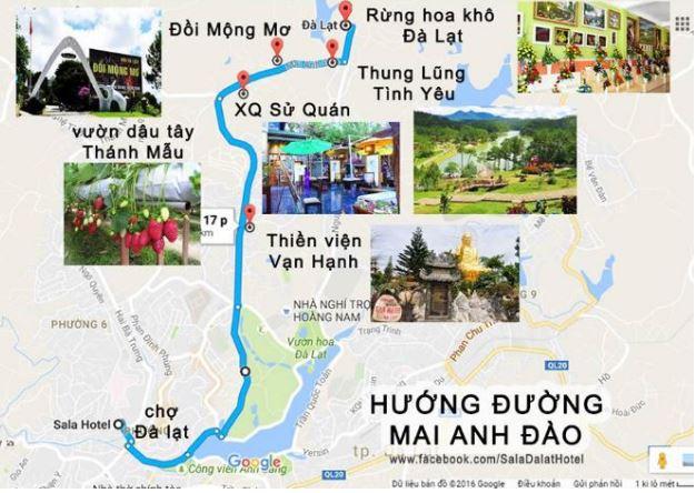 Bản đồ các địa điểm du lịch thành phố Đà Lạt tỉnh Lâm Đồng