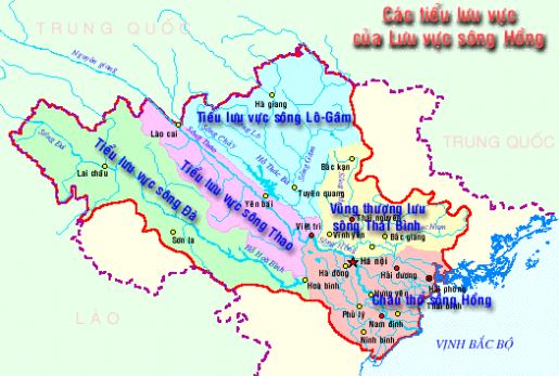 Bản đồ hệ thống sông Thái Bình