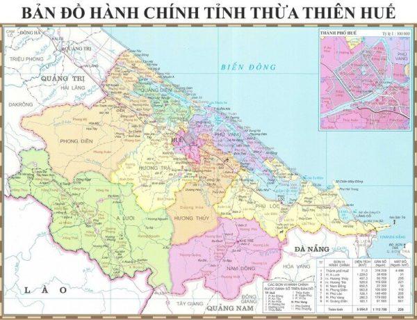 Bản đồ tỉnh Thừa Thiên Huế – Tìm hiểu đôi nét về vị trí và các đơn vị hành chính