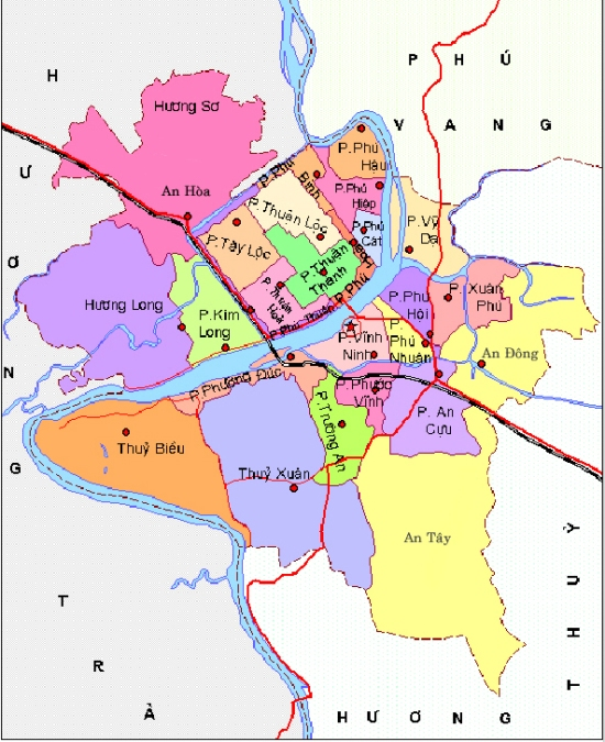 Bản đồ hành chính thành phố Huế, tỉnh Thừa Thiên Huế