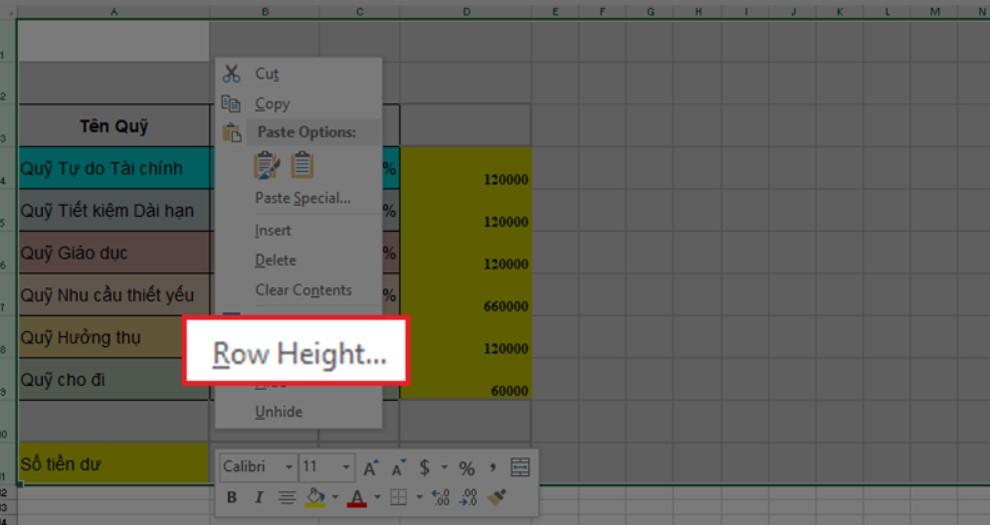Hướng dẫn cách giãn dòng đều nhau trong Excel nhanh nhất 5