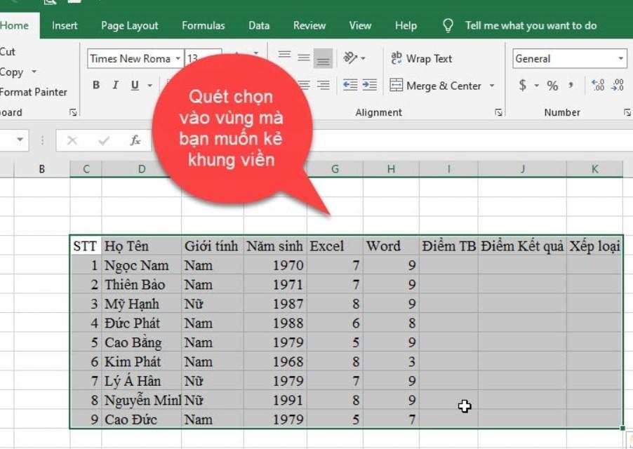 Hướng dẫn cách tạo khung viền trong Excel cực đơn giản 2