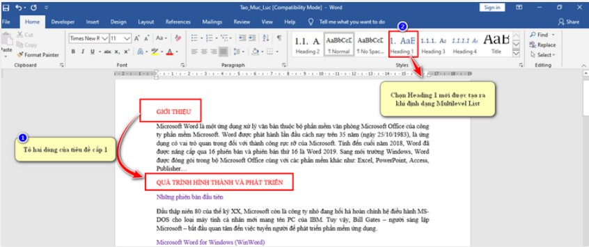 Cách tạo mục lục trong Word chuyên nghiệp với Multilevel List 5