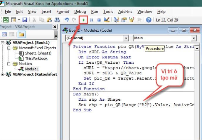 Hướng dẫn cách tạo mã QR code trên Excel bằng VBA 5