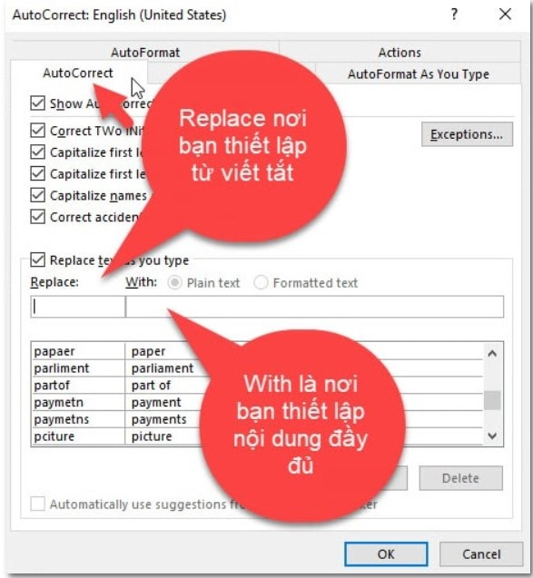 Cách thiết lập gõ tắt trong Word cực đơn giản 3