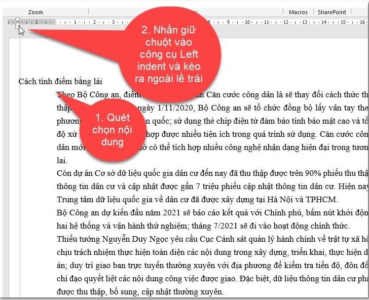 Hướng dẫn cách viết nội dung nằm ngoài lề trang Word 3