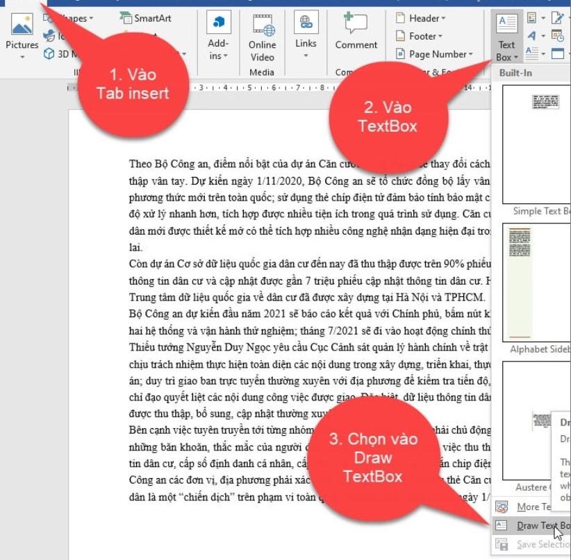 Hướng dẫn cách viết nội dung nằm ngoài lề trang Word 7