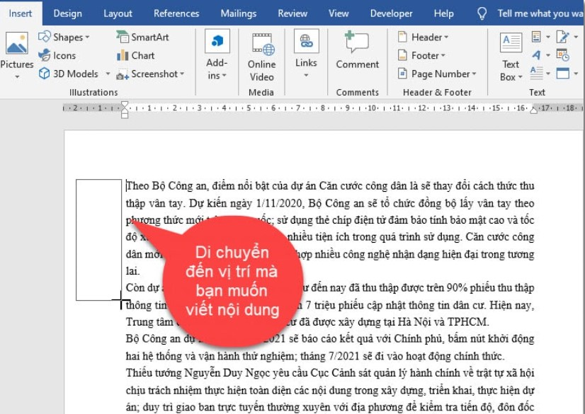 Hướng dẫn cách viết nội dung nằm ngoài lề trang Word 8