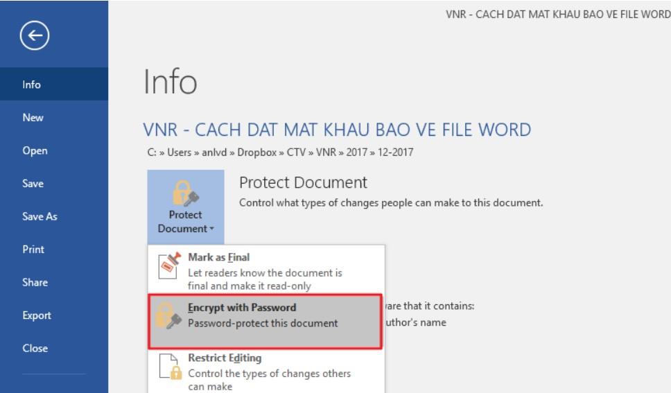 Đặt mật khẩu bảo vệ tài liệu Word, Excel và PowerPoint 3