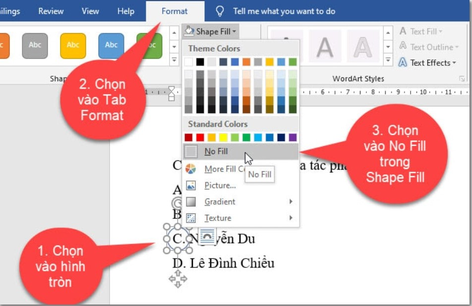 Làm thế nào để khoanh tròn đáp án trong Word, Excel…? 8