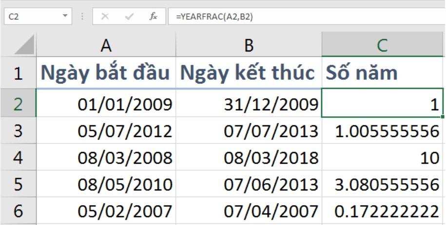 Công thức tính số năm bằng hàm Yearfrac 2