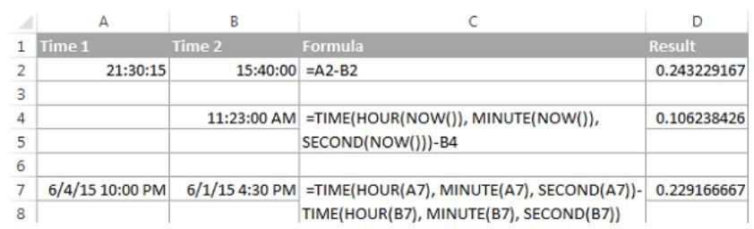 Cách tính chênh lệch thời gian trong excel 2