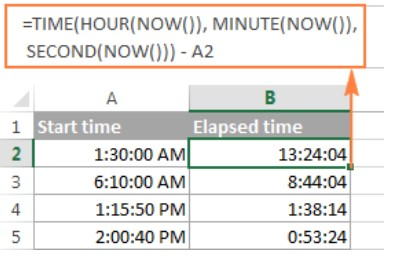 Cách tính chênh lệch thời gian trong excel 11
