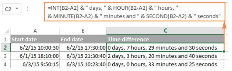 Cách tính chênh lệch thời gian trong excel 12