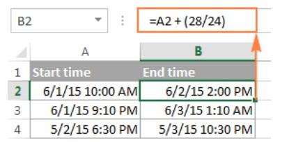 Cách tính chênh lệch thời gian trong excel 19