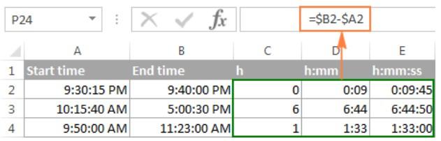 Cách tính chênh lệch thời gian trong excel 3