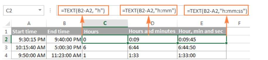 Cách tính chênh lệch thời gian trong excel 4