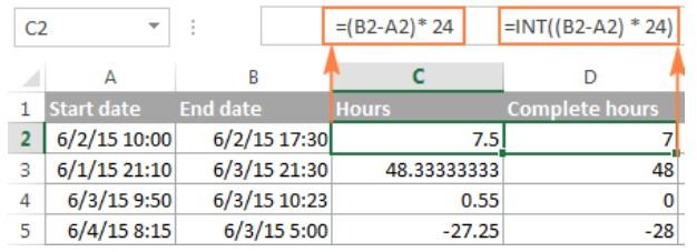 Cách tính chênh lệch thời gian trong excel 5