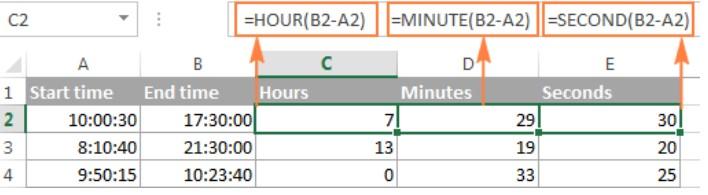 Cách tính chênh lệch thời gian trong excel 7