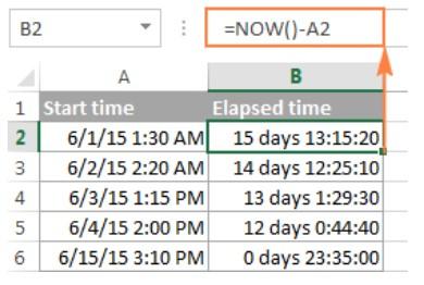 Cách tính chênh lệch thời gian trong excel 9