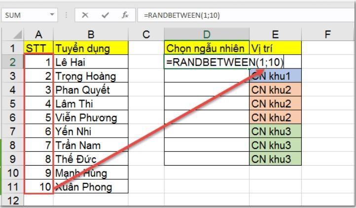 RANDBETWEEN: Hàm chọn giá trị ngẫu nhiên trong Excel 3
