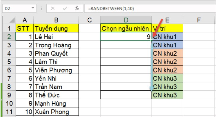 RANDBETWEEN: Hàm chọn giá trị ngẫu nhiên trong Excel 4