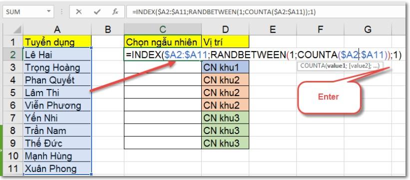RANDBETWEEN: Hàm chọn giá trị ngẫu nhiên trong Excel 6