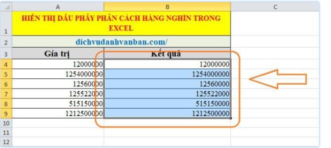 Hiển thị dấu phẩy phân cách hàng nghìn trong Excel 2