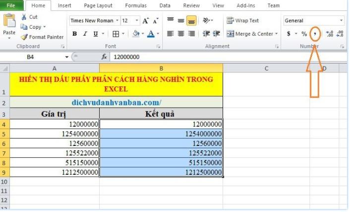 Hiển thị dấu phẩy phân cách hàng nghìn trong Excel 3
