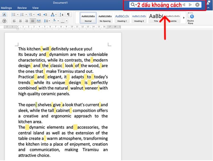 Cách xóa khoảng trắng thừa giữa các chữ trong Word 2