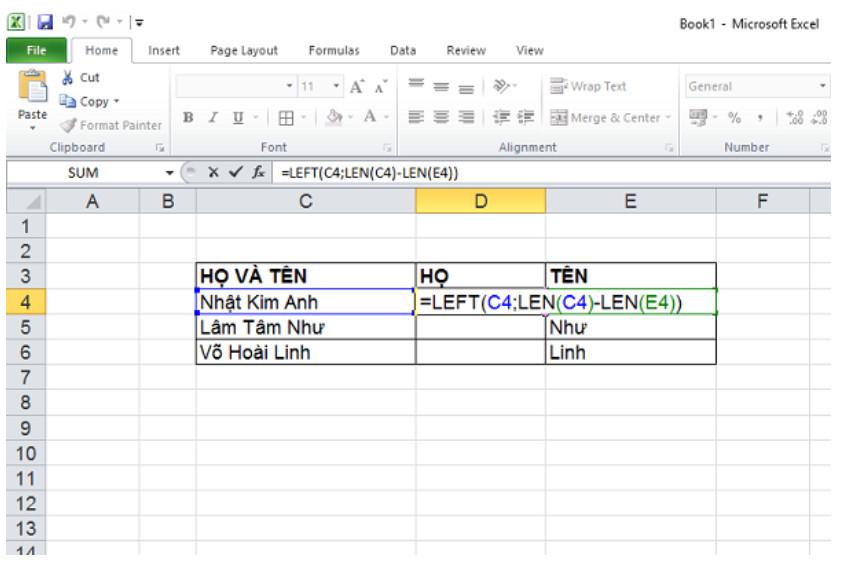Hướng dẫn cách tách Họ và Tên trong Excel với 2 cách đơn giản 5