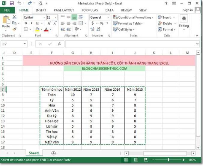 Cách Chuyển đổi cột thành hàng, hàng thành cột trong Excel 2