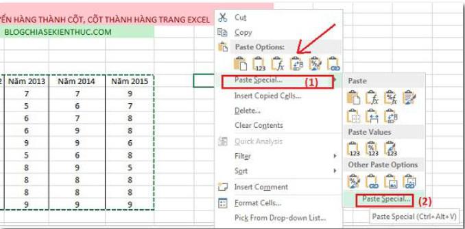 Cách Chuyển đổi cột thành hàng, hàng thành cột trong Excel 4