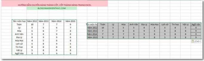 Cách Chuyển đổi cột thành hàng, hàng thành cột trong Excel 6